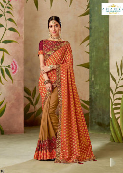 Adorable Red- Beige Silk Saree with Wine Blouse