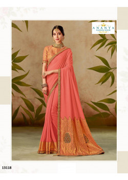 Luscious Peach Silk Saree with Peach Blouse