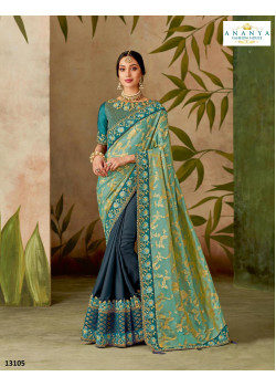 Charming Teal Blue Dual Tone Silk Saree with Blue Blouse