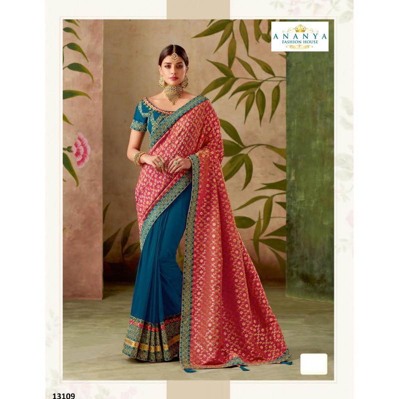 Exotic Pink- Turquoise Silk Saree with Pink- Turquoise Blouse