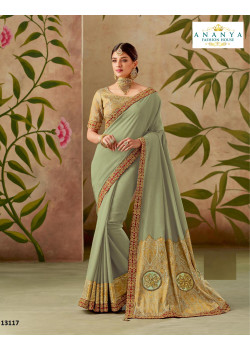 Flamboyant Pastel Green Silk Saree with Pastel Green Blouse