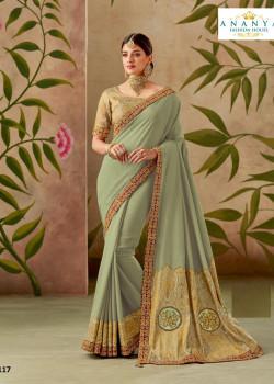 Flamboyant Pastel Green Silk Saree with Pastel Green Blouse