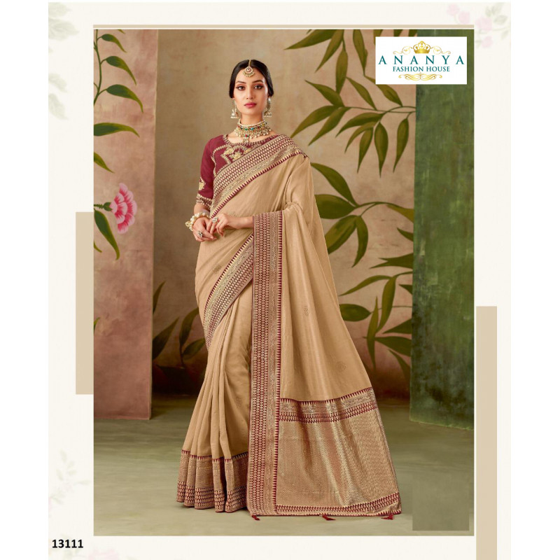 Incredible Beige   Silk Saree with Maroon Blouse