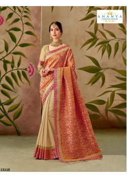 Magnificient Orange- Beige Silk Saree with Orange- Beige Blouse