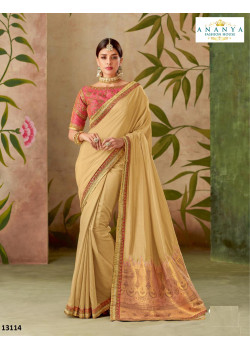 Melodic Beige Silk Saree with Pink Blouse