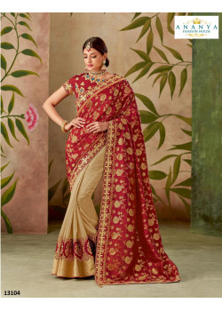 Melodic Cream- Red Silk Saree with Red Blouse