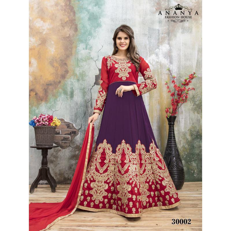 Adorable Purple- Pink Faux Georgette- Santoon Salwar kameez