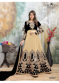 Charming Cream- Black Faux Georgette- Santoon Salwar kameez