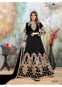 Dazzling Black Faux Georgette- Santoon Salwar kameez