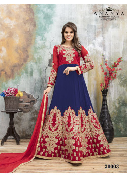 Flamboyant Blue- Pink Faux Georgette- Santoon Salwar kameez