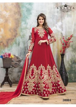 Luscious Red- Pink Faux Georgette- Santoon Salwar kameez