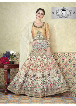 Exotic Off White Satin- Santoon Salwar kameez