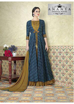 Adorable Blue- Olive Green Tussar Silk- Satin Salwar kameez