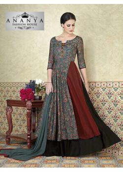 Classic Grey- Black Tussar Silk- Tussar Cotton Salwar kameez