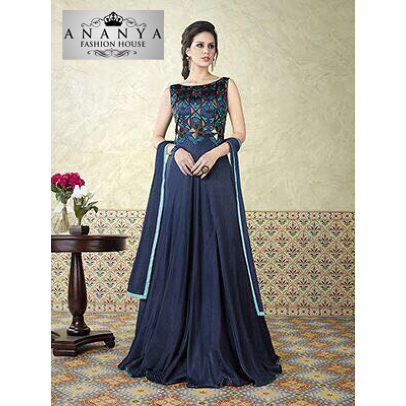 Flamboyant Navy Blue Satin- Santoon Salwar kameez