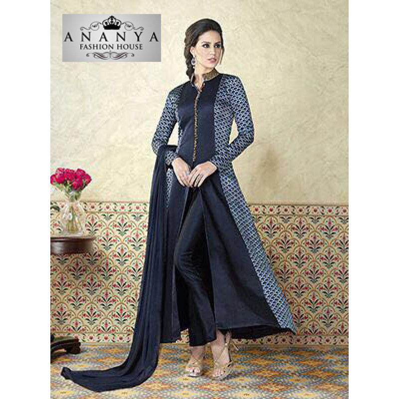 Luscious Navy Blue Satin- Santoon Salwar kameez