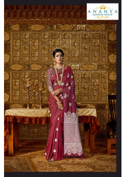 Trendy Maroon Silk Saree with Maroon Blouse