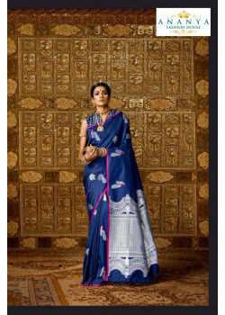 Melodic Dark Blue Silk Saree with Dark Blue Blouse