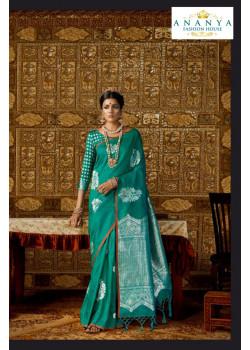 Charming Rama Green Silk Saree with Rama Green Blouse
