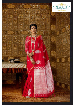 Dazzling Red Silk Saree with Red Blouse