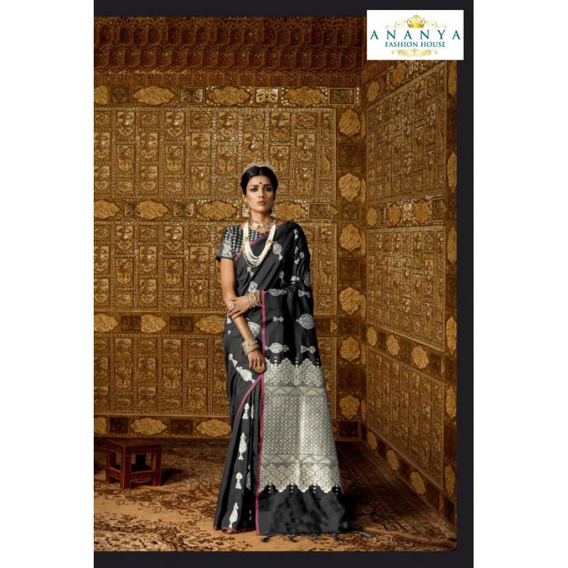 Divine Black Silk Saree with Black Blouse