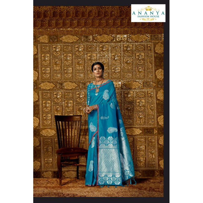 Gorgeous Blue Silk Saree with Blue Blouse