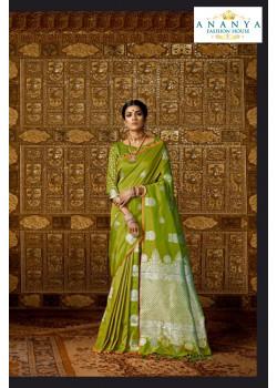 Incredible Light Green Silk Saree with Light Green Blouse