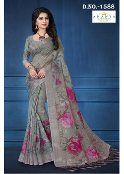 Adorable Grey Linen Saree with Grey Blouse