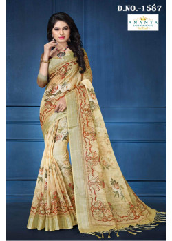 Classic Cream   Linen Saree with Cream   Blouse