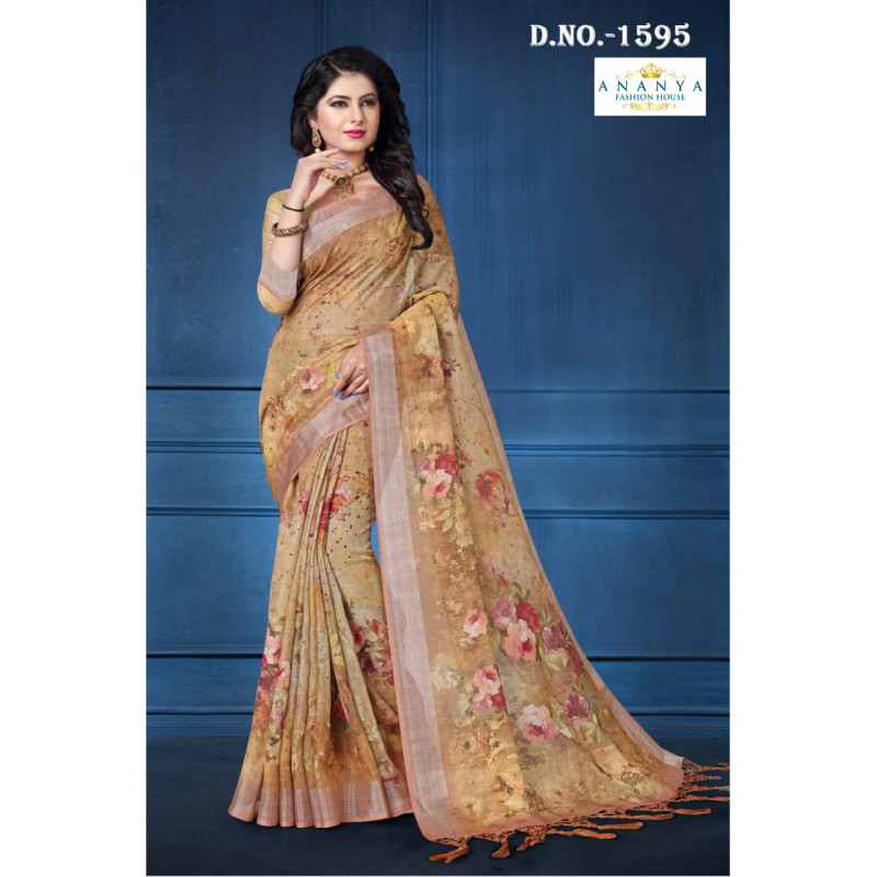 Dazzling Light Brown Linen Saree with Light Brown Blouse
