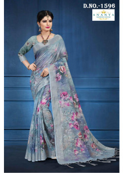 Divine Grey Linen Saree with Grey Blouse