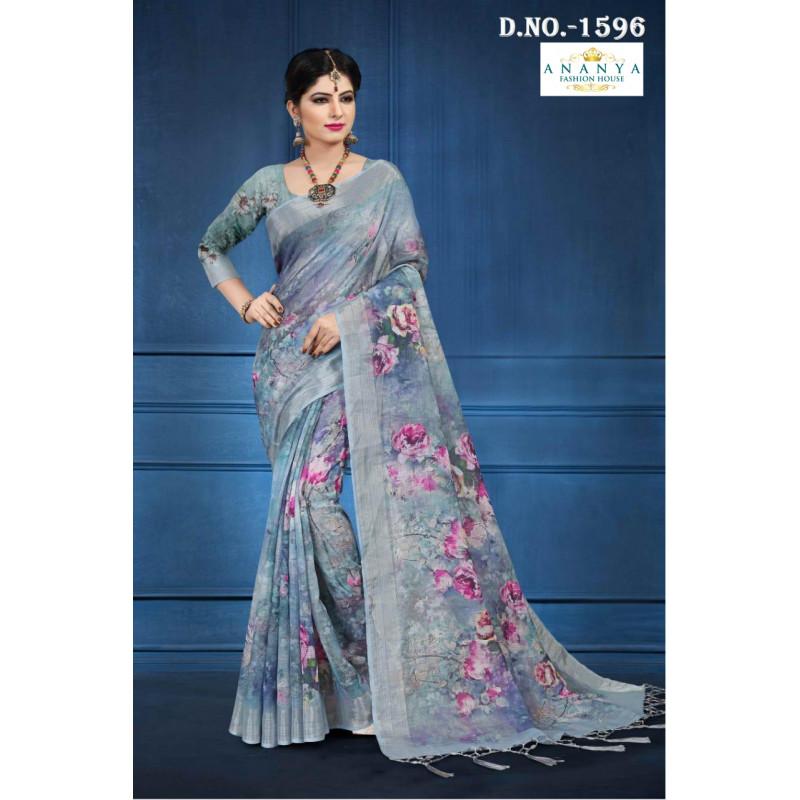 Divine Grey Linen Saree with Grey Blouse