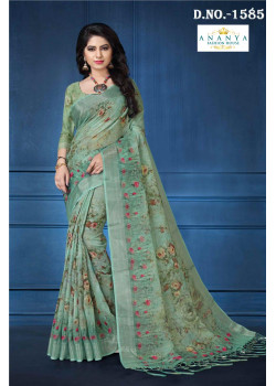 Enigmatic Pastel Green Linen Saree with Pastel Green Blouse