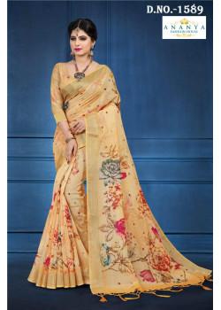 Flamboyant Light Yellow Linen Saree with Light Yellow Blouse