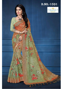 Luscious Olive Green- Orange Linen Saree with Olive Green- Orange Blouse