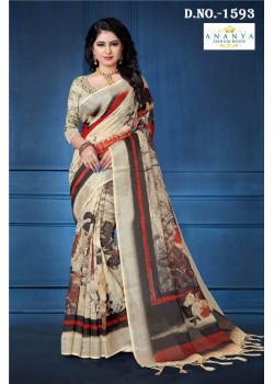 Melodic Multicolor Linen Saree with Multicolor Blouse