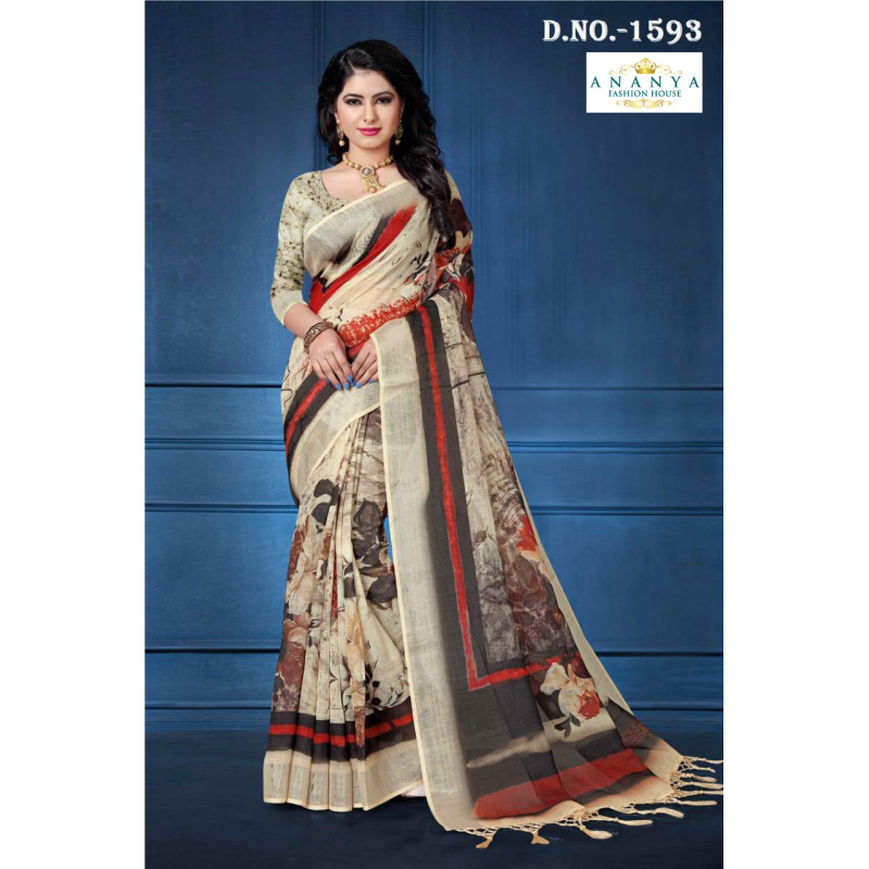 Melodic Multicolor Linen Saree with Multicolor Blouse