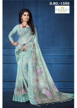 Melodic Pastel Blue Linen Saree with Pastel Blue Blouse