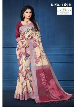 Trendy Multicolor Linen Saree with Multicolor Blouse