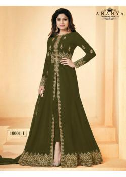 Divine Olive Green Geogette Salwar kameez