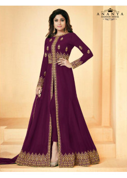 Trendy Dark Purple Geogette Salwar kameez