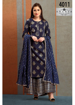 Gorgeous Navy Blue Silk Salwar kameez
