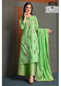 Incredible Light Green Silk Salwar kameez