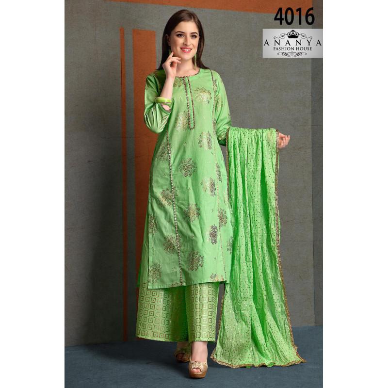 Incredible Light Green Silk Salwar kameez