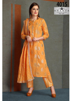Magnificient Light Orange Silk Salwar kameez