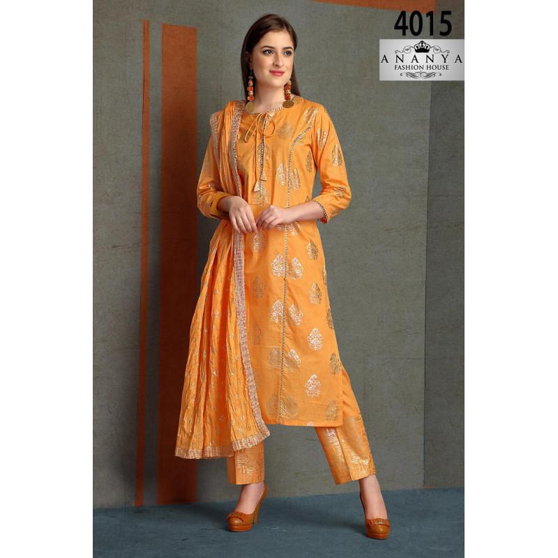 Magnificient Light Orange Silk Salwar kameez