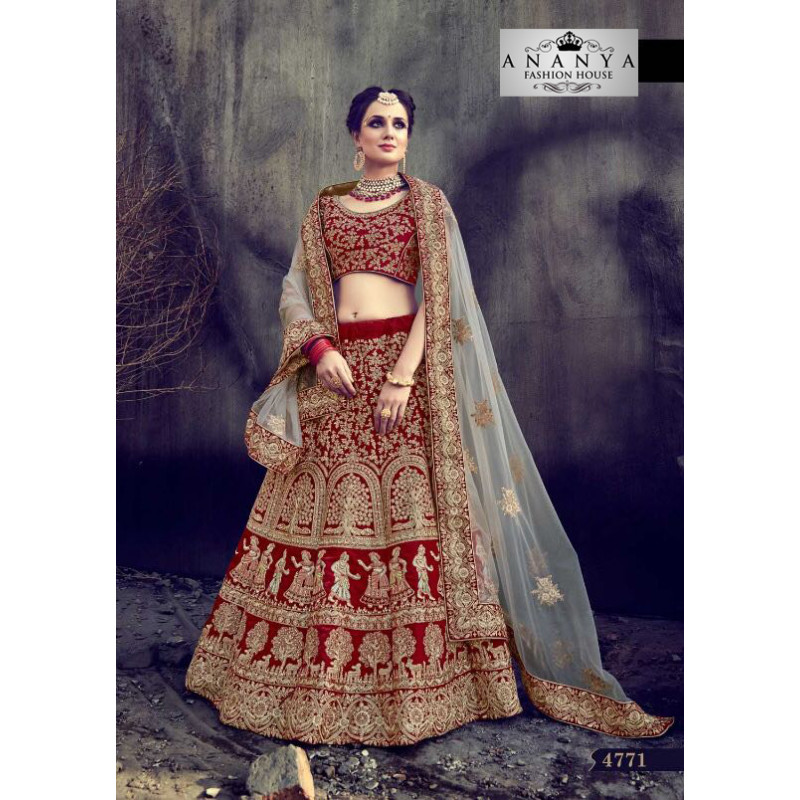 Incredible Maroon - Gold color Velvet Designer Lehenga