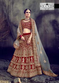 Incredible Maroon - Gold color Velvet Designer Lehenga