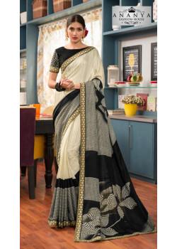 Incredible Cream- Black Silk- Jacquard Saree with Black Blouse