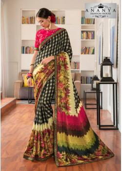 Enigmatic Multicolor Silk- Jacquard Saree with Rani Pink Blouse